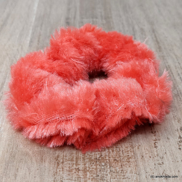 Anokhi Ada Rose Red Small Fur Scrunchie for Girls and Women ( 2 Pcs, ZG-77 )