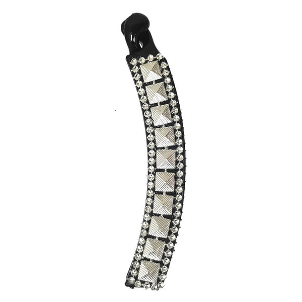 Anokhi Ada Black Designer Handmade Fancy Plastic Banana Hair Clip for Girls and Women (ZI-13) - Anokhiada.com