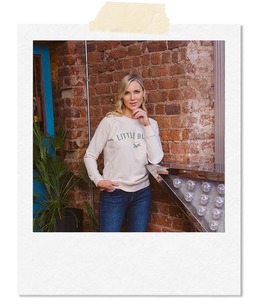 Little Bliss by Anna Daly the varsity white sweatshirt