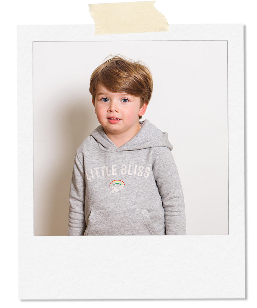 Little Bliss by Anna Daly The Kids Happy Hoodie in Grey