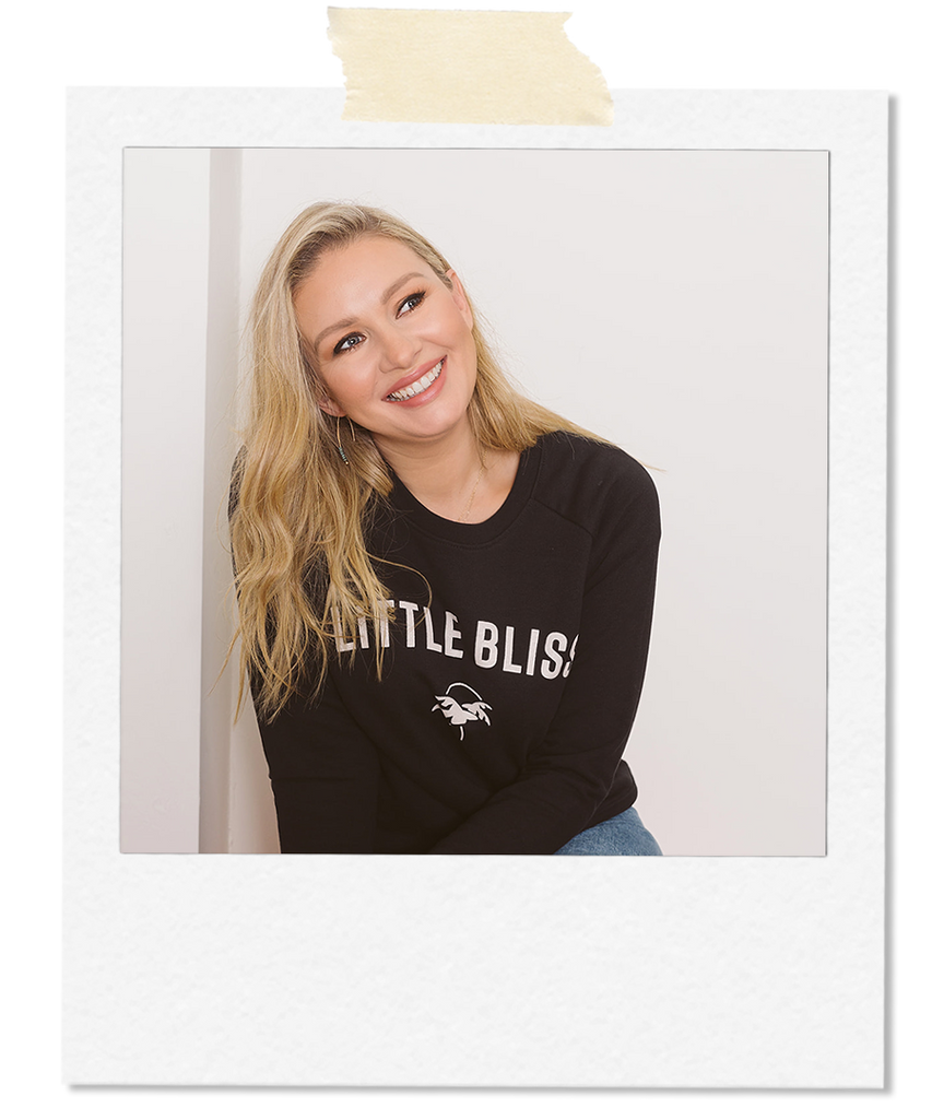 Little Bliss by Anna Daly the varsity black sweatshirt