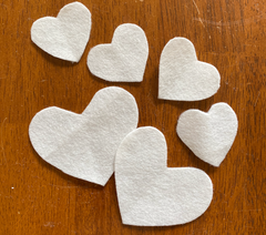 Cut out felt hearts