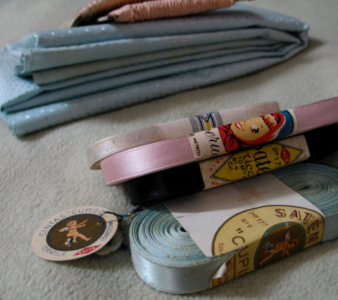 Vintage ribbon, lace and fabric.