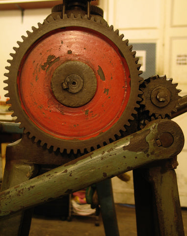 Jewellery Machinery, old manual rolling mill with cogs,  to make flat silver and gold sheet.