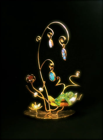 18ct Gold micro-sculpture, emerald carved frog, pearls, garnets, opals, lily pad, waterlily flower