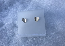 Load image into Gallery viewer, Silver Butterfly Heart Stud Earrings