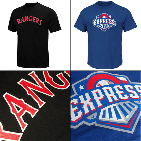 Texas Rangers MLB 2 Button and Affiliate Round Rock Express MiLB Adult T Shirts