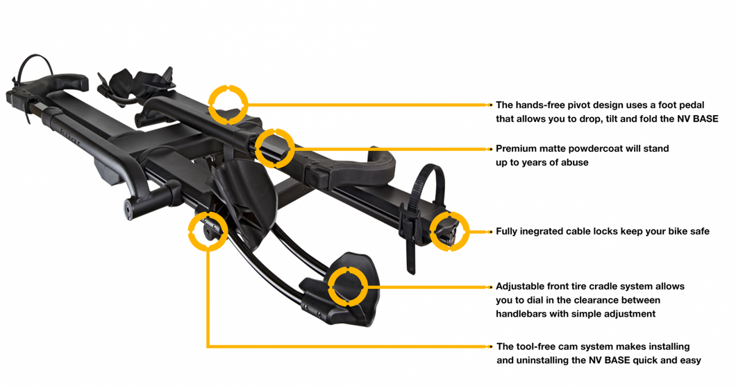 Kuat NV 2.0 Base Hitch Bike Rack - 2-Bike 2 Receiver Black