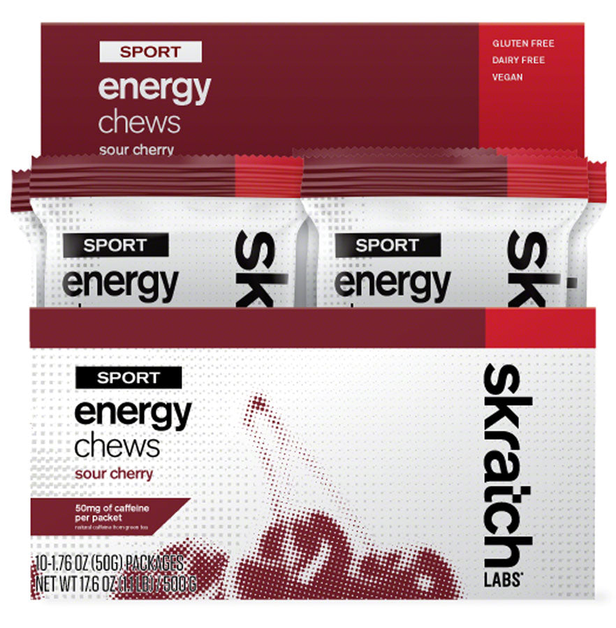 Skratch Labs Sport Energy Chews - Caffeinated Sour Cherry Box of 10