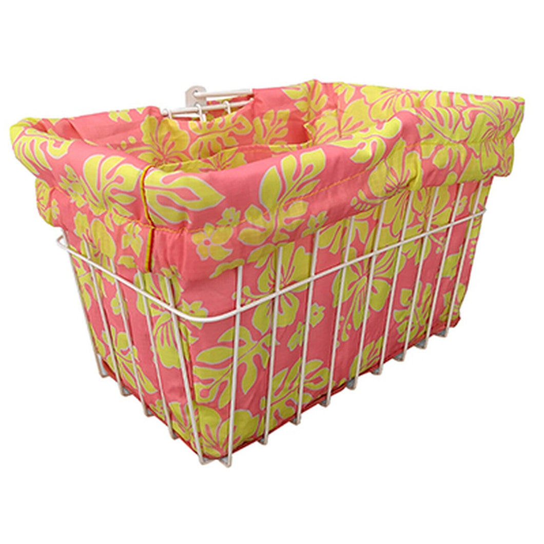 Basket Liner-Pink/Yellow Hawaiian