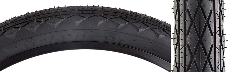 TIRES SUNLT 26x2.5 BK/BK REV WIRE
