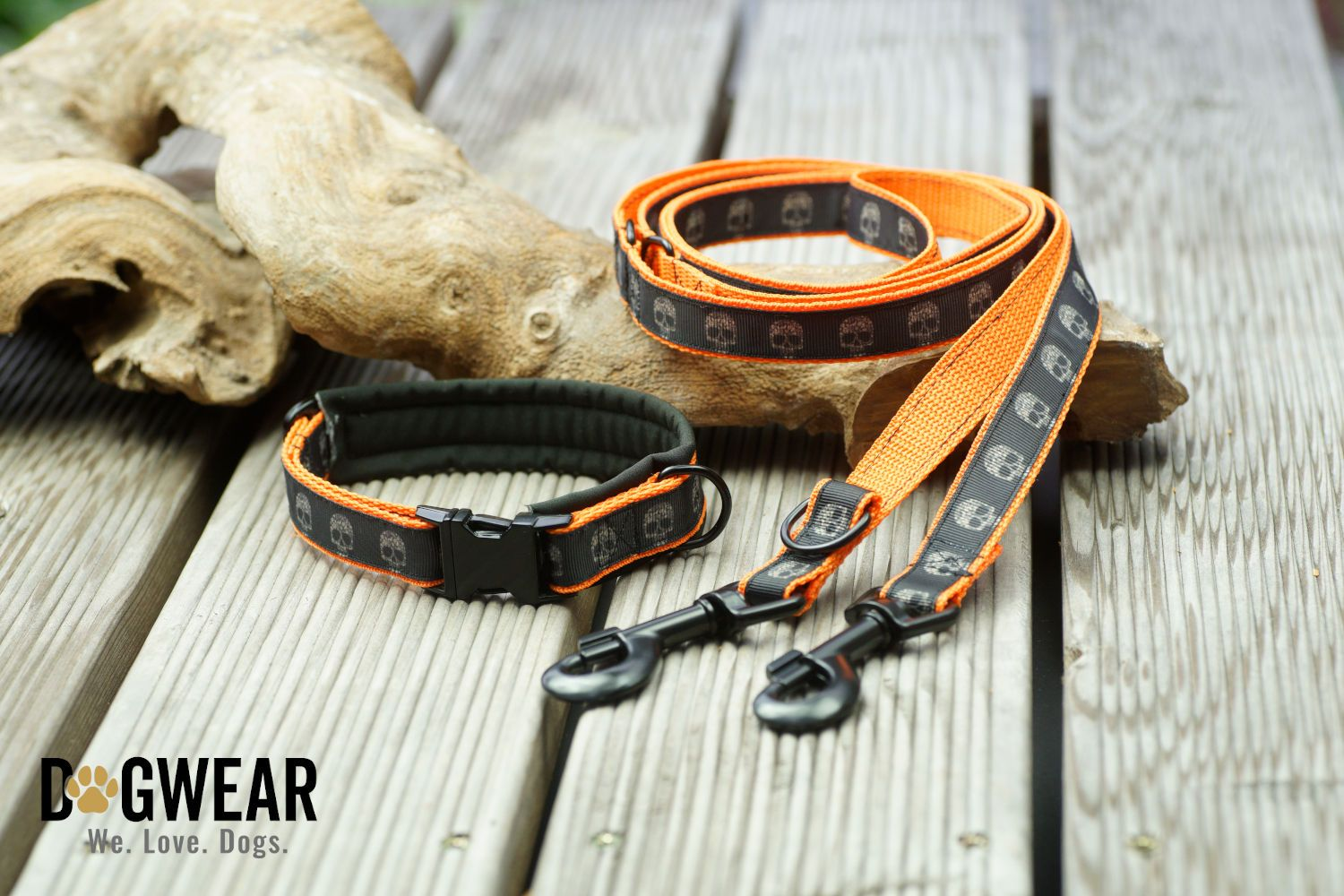 Dogwear Hundehalsband-Paket 'Deadly' orange
