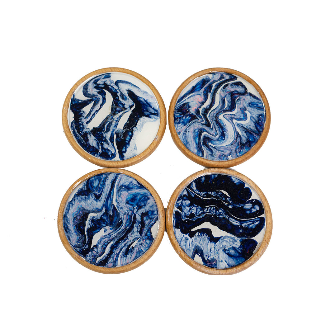 Starry Night Abstract Coasters - Round