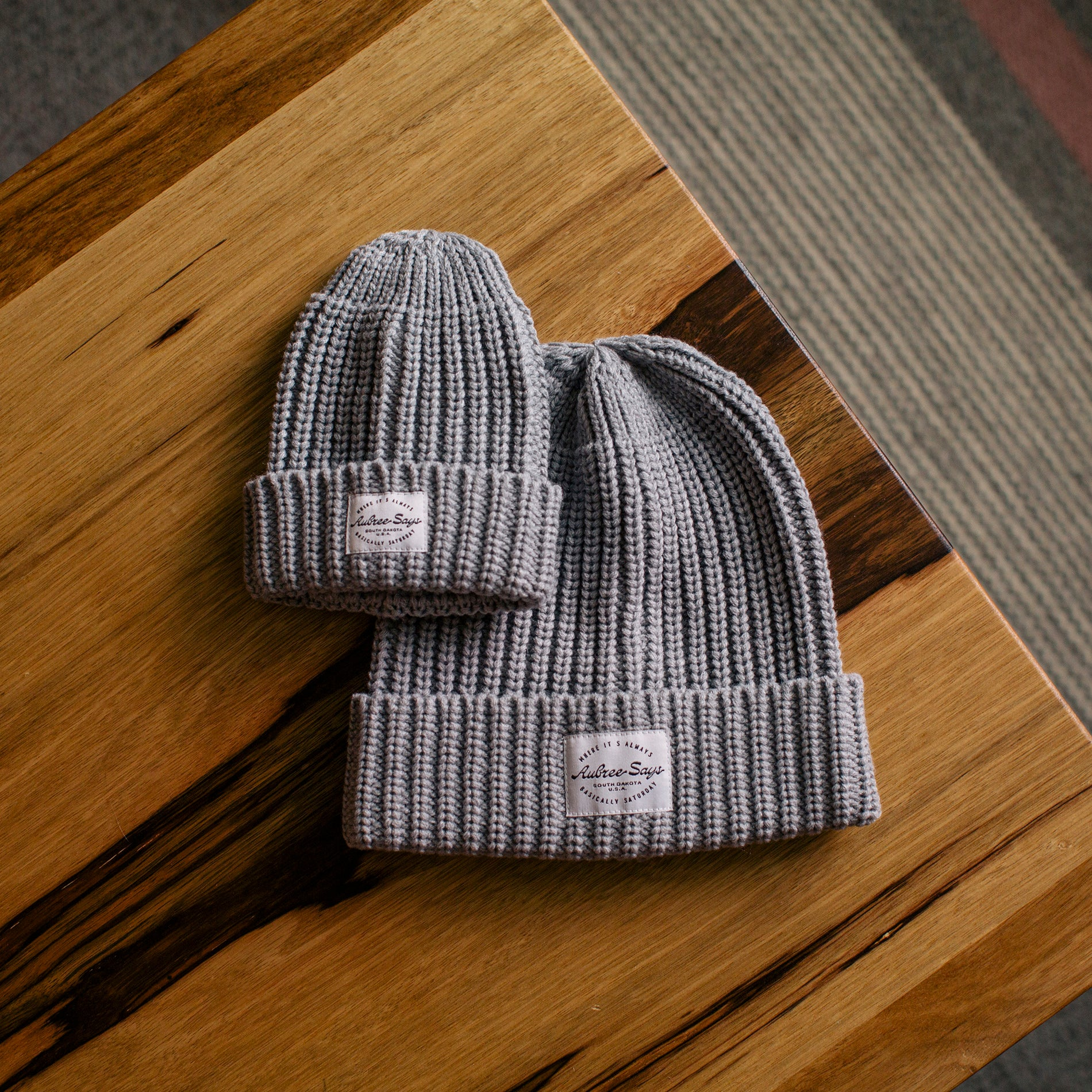 Matching baby and mom hats in gray chunky weave