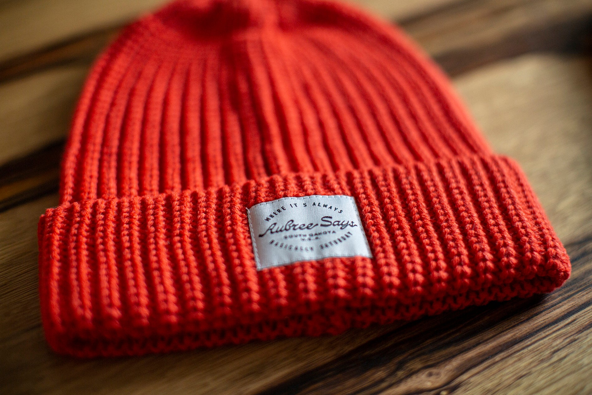 Chunky woven beanie in orange by Aubree Says