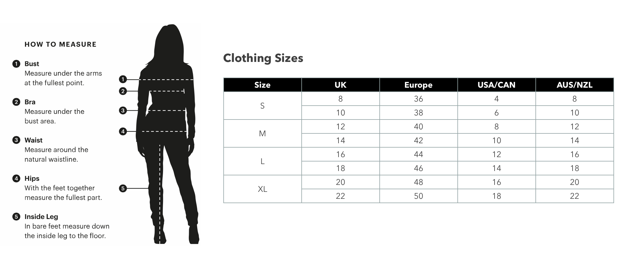 East&Essex size guide
