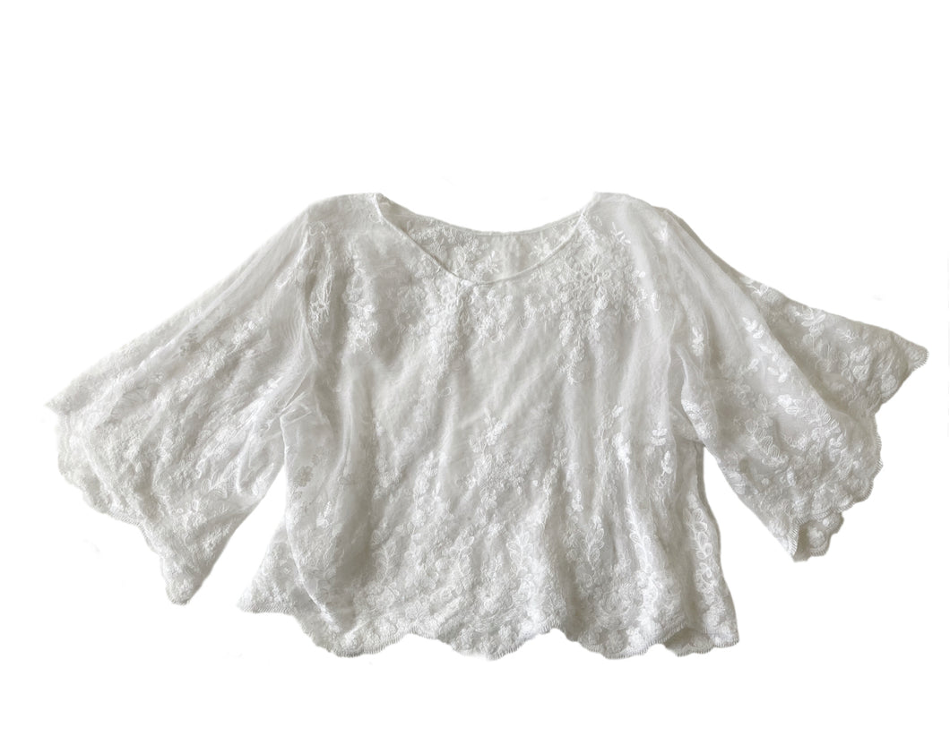 White Hang Loose Luxury Sheer Scalloped Lace Flared Sleeve/ Batwing 70s Crop Top - Ready to ship!