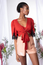 Load image into Gallery viewer, 'Zen' Bamboo Silk Wrap Pyjama Top w Lace Appliqué
