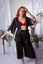 Load image into Gallery viewer, 'Zen' Bamboo Silk Kimono Robe w Lace Applique