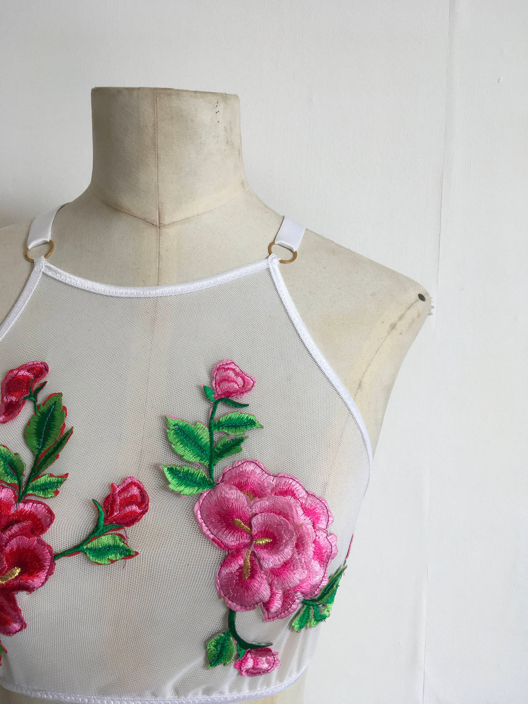 Colourful floral applique embroidery Lace and Mesh Crop top / Bralette, festival fun, sheer cami, lingerie top.