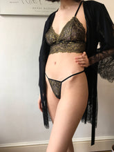 Load image into Gallery viewer, All That Glitters Black & Gold Lace Micro Thong w Swarovski Crystal