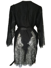 Load image into Gallery viewer, Black Peony Cutaway Lace Pannelled Kimono Style Robe