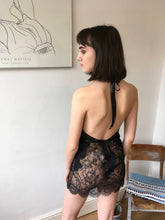 Load image into Gallery viewer, Black Peony Cutaway Lace Pannelled Slip