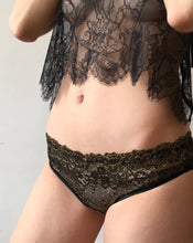 Load image into Gallery viewer, Black Peony Lace Scolloped Edge Halter Neck Lounge Tied Up Top
