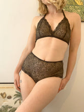 Load image into Gallery viewer, Starry Eyed Lurex Bralette. Triangle Soft Cup Lace Bra in Black & Gold