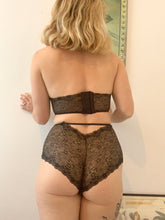 Load image into Gallery viewer, Starry Eyed Crop Top Key Hole Bralette. Soft Cup Lace Bra in Black & Gold