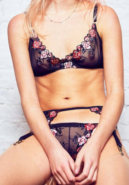 Tulle 'Roses Are...' Soft Mesh & Lace Bralette