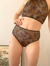 Load image into Gallery viewer, Flora Embroidered Mesh Classic Brief w Ruched Bottom