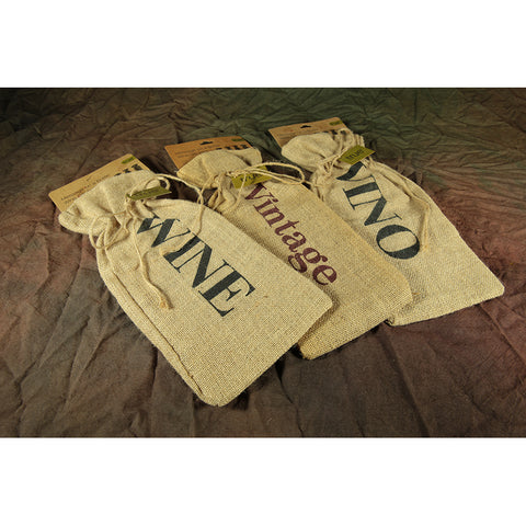 Burlap Vintage Wine Bag