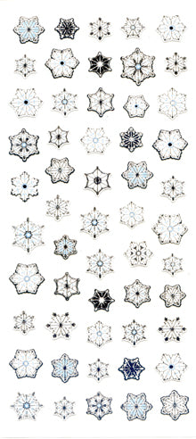 JC054 WASHI STICKERS SNOW FLAKES WITH SILVER FOIL
