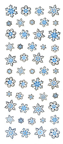 JC072 WASHI STICKERS SNOW FLAKES WITH SILVER FOIL
