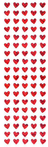 PMS801 HEART STICKERS RED HEARTS 6mm