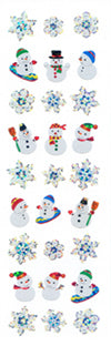 XP554 CHRISTMAS PRISM STICKERS Snowflakes & Snowman