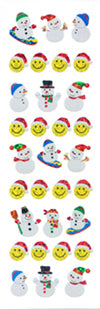 XP555 CHRISTMAS PRISM STICKERS Smile face & Snowman