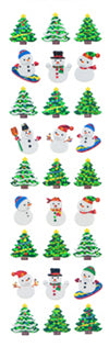 XP570 CHRISTMAS PRISM STICKERS Christmas tree & Snowman
