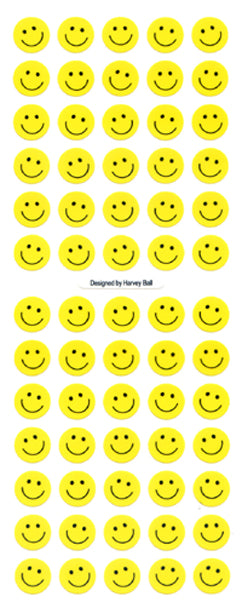 ZC035 PAPER SMILE FACE STICKERS 9mm Yellow