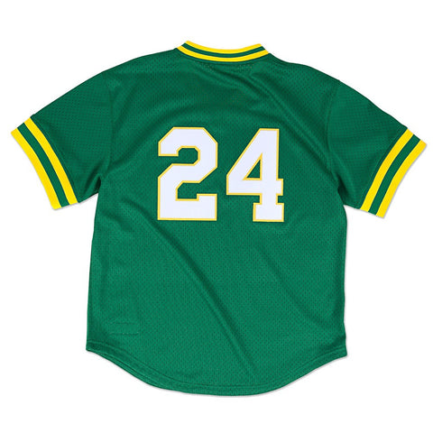 Rickey Henderson Oakland Athletics MLB Mitchell & Ness Men's Green 1991 Authentic Throwback Batting Practice Jersey