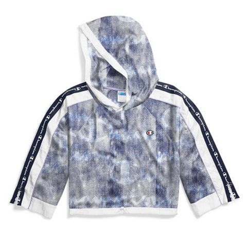 Champion LIFE Mesh Denim Overlay Cropped Hoodie Women