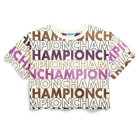 Champion LIFE Champion LIFE Women's Short Sleeve Big Block Text Mix Chalk White T-Shirt Shirt
