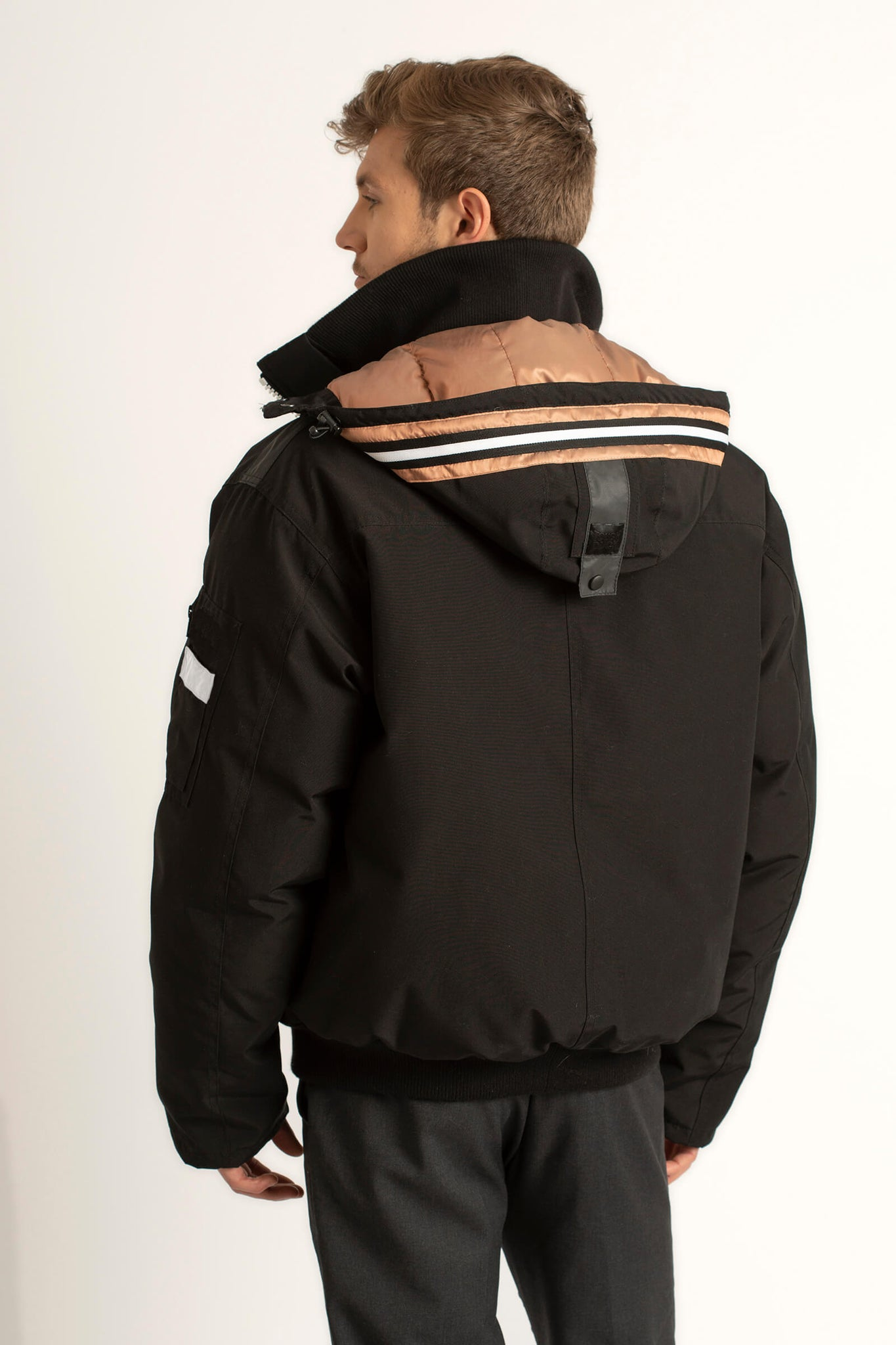 The back view of the men's Tough Duck Black Widgeon Bomber.