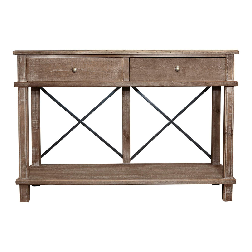 Metal Cross 2 Drawer Console