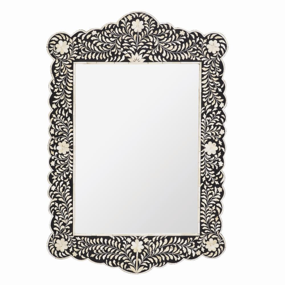 Scalloped Bone Inlay Mirror