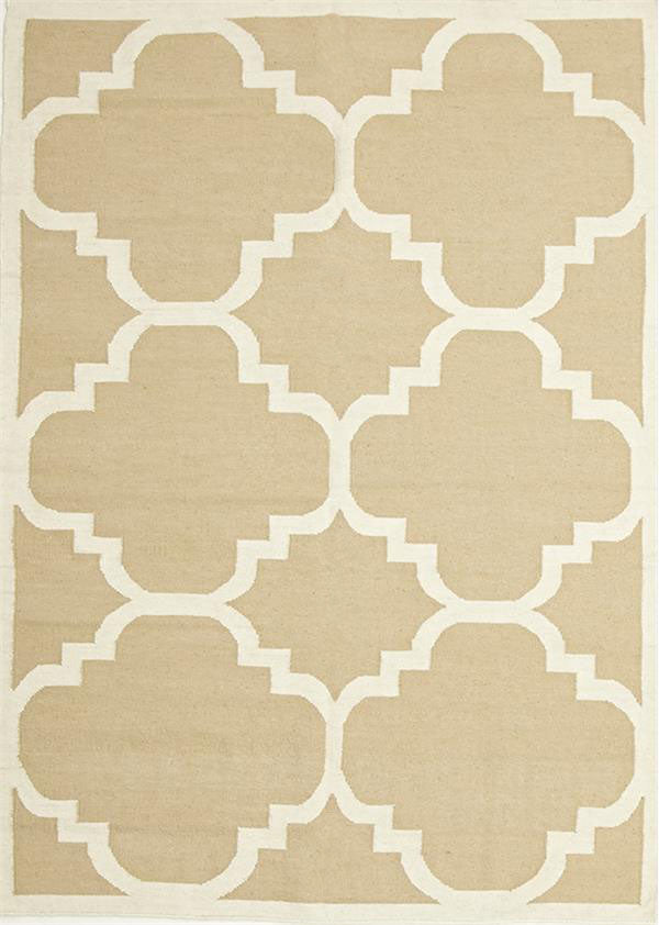 Natural Beige Hand Knotted Wool Kilim