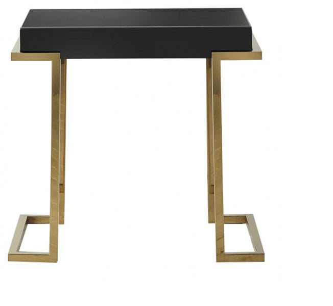 Holloway Black Mirrored Side Table