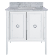 Load image into Gallery viewer, White Bamboo Detail Vanity – Gold or Nickel Detail