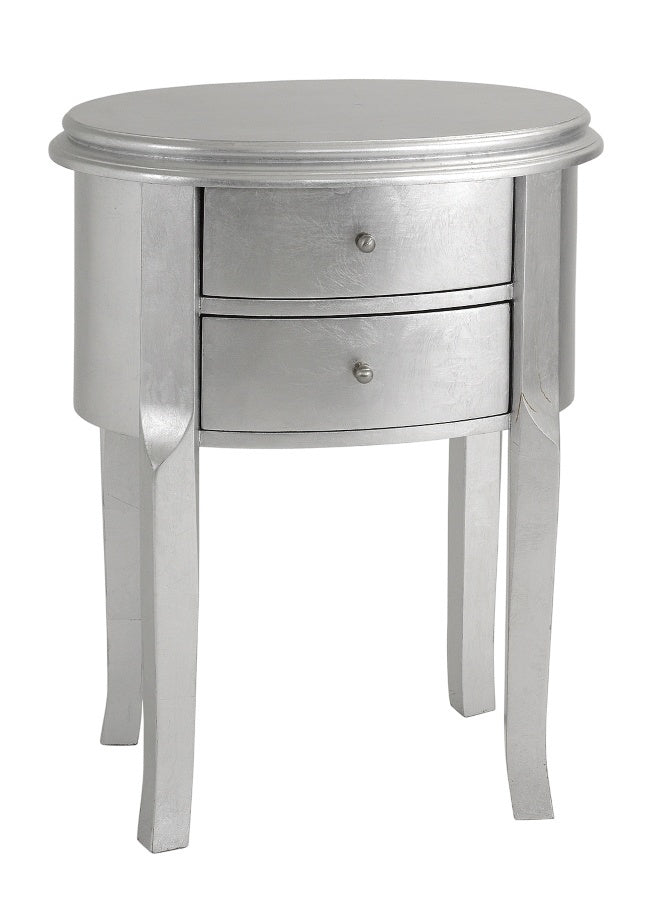 Silver Leaf Oval Side Table